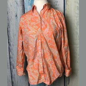 Chaps Orange Paisley Print Button Down (A)
